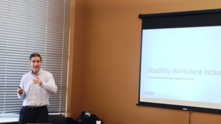 Andrew Lundgren training on Disability Workplace Inclusion.